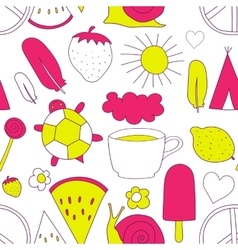 Hand drawn neon doodles pattern vector