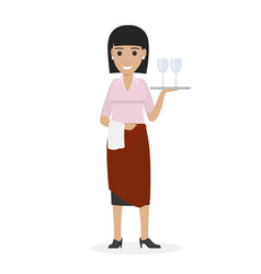 happy waitress keeps tray with glasses and towel vector image