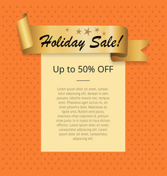 holiday sale up to 50 off poster with gold ribbon vector image vector image