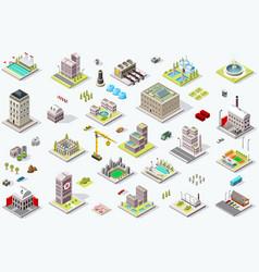 Isometric city building icons vector