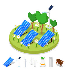 isometric ecology concept renewable solar energy vector image vector image