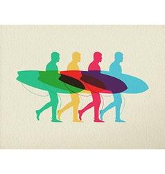 Lets go surfing summer time color concept design vector image