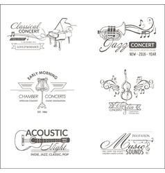 Music and Instruments - Badges Logotypes vector image vector image