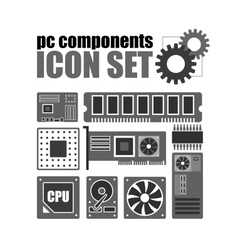 pc components icon set PC service vector image