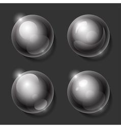 Realistic shiny transparent glass spheres set vector