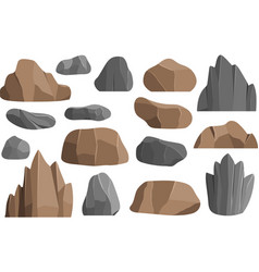 Rocks and stones icons building mineral vector