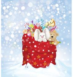 santa bag toys vector image vector image
