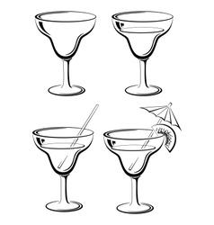 Set glasses black pictograms vector