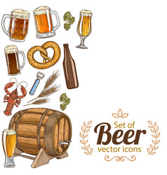 side vertical border with beer icons vector image vector image