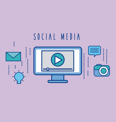 social media computer digital player button vector image