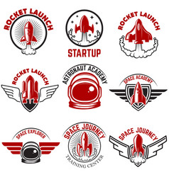 Space labels rocket launch astronaut academy vector