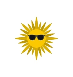 Sun face with sunglasses icon flat style vector image