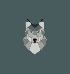 wolf head geometric flat design style vector image