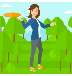 Woman playing frisbee vector