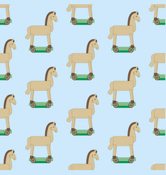wooden horse pattern vector image