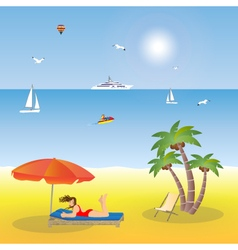 Young girl lying on the beach under an umbrella vector