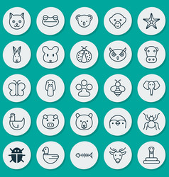Zoology icons set collection of baboon toad vector
