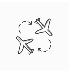 Airplanes sketch icon vector