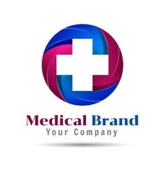 Cross plus medical logo icon design template vector
