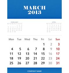 Mar 2013 calendar design vector image