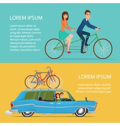 Summer travel by car and by bike cartoon poster  vector