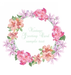 Summer vintage wreath greeting card vector