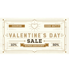 Valentines day sale retro background vector
