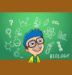 School boy write chemistry biology vector