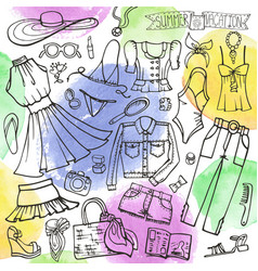 summer fashion setwomangirl wearwatercolo vector image