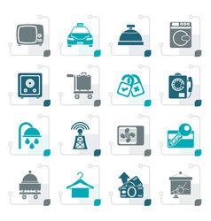 Stylized hotel and motel room facilities icons vector