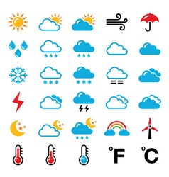 Weather forecast colorful icons set vector
