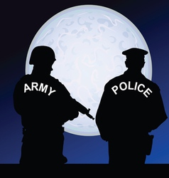Soldier and policeman on a moonlight color vector
