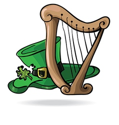 Hat with a shamrock and the harp vector