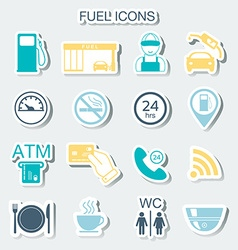 16 gas station icons fuel icons stickers vector