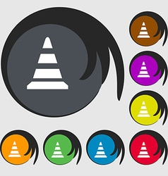 Road cone icon symbols on eight colored buttons vector