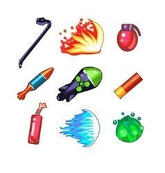 Weapon and bomb icons set vector