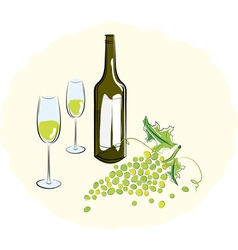 Bottle of white wine with a glass vector