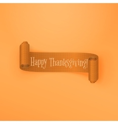 Realistic scroll thanksgiving orange ribbon vector