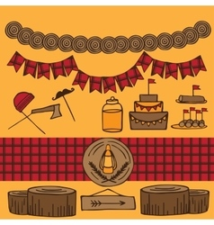 Rustic woodsy outdoor lumberjack party ideas vector