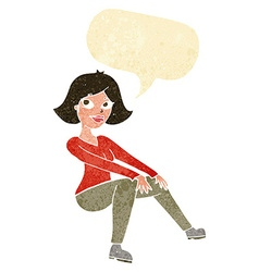 Cartoon happy woman sitting with speech bubble vector