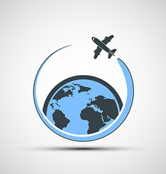 Logo airplane fly around the earth vector image