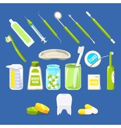 Dentistry related objects set vector