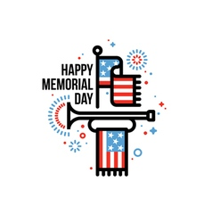 Memorial day card with american flag and bugle vector