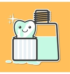 Tooth washing in mouthwash vector
