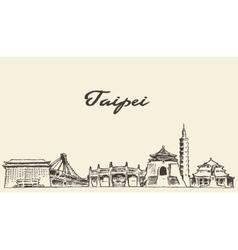 Taipei skyline drawn sketch vector image