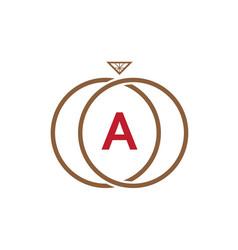 a letter ring diamond logo vector image vector image