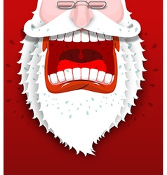 Angry Santa Claus shouts Unhappy Santa with big vector image vector image