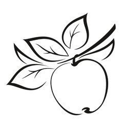 Apple with leaves black pictogram vector