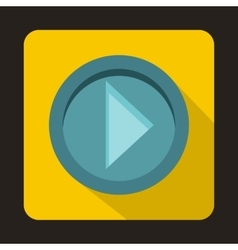 Arrow button on yellow background icon flat style vector image
