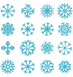 Blue Snowflakes Set vector image